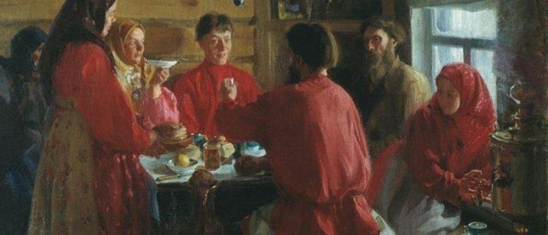 """Куликов И. С. """"В крестьянской избе"""" (1902)"""