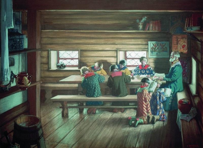 Б. М. Кустодиев «Земская школа в Московской Руси» (1907)