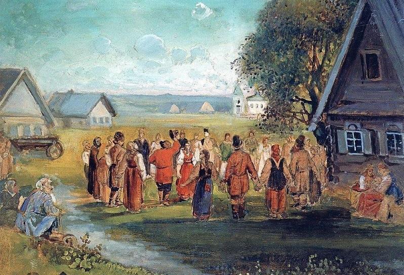 Саврасов А. К. Хоровод в селе 1873-1874