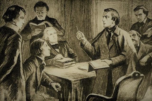 Белинский на заседании кружка Станкевича